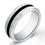 8mm polished Tungsten Carbide ring with black inlay