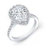 Pear Cut Halo Engagement Ring