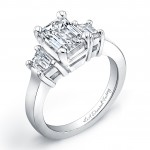 Three Stone Emerald Engagement Ring