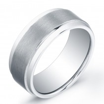 9mm Tungsten Carbide ring with a matte flat top and shiny edges