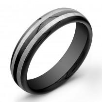 6mm Black Tungsten Carbide ring with 2 matte stripes