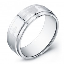 9mm Tungsten Carbide ring with laser engraved crosses and a stepped outer edge