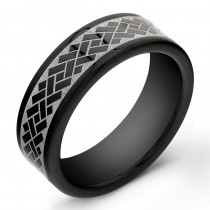 8mm Black Tungsten Carbide ring with laser engraved design