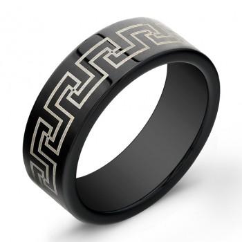 8mm Tungsten Carbide ring with laser engraved antique design