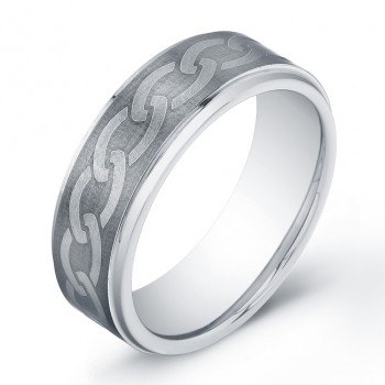 8mm Tungsten Carbide ring with etched knot pattern