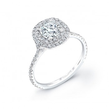 Double Cushion Halo Engagement Ring