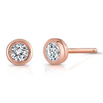 14kt Rose Gold Bezel Set Earrings (1/3ctw)