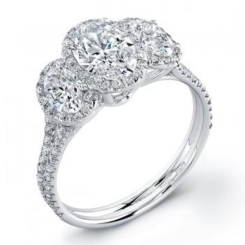 Three Stone Oval Halo Engagement Ring