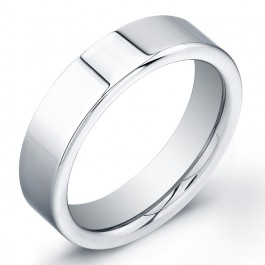 6mm Tungsten Carbide ring with a flat, high polish top