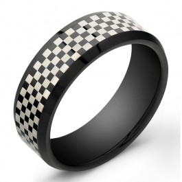 8mm Tungsten Carbide ring with a checkerboard style