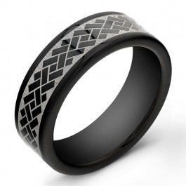 8mm Black Tungsten Carbide ring with laser engraved design