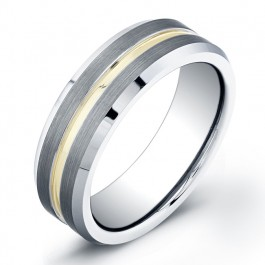 7mm Tungsten Carbide ring with flat matte center and gold plated groove