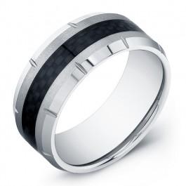 10mm Tungsten Carbide wedding band with black fiber inlay