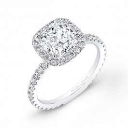 Cushion Halo with Round Brilliant Center Engagement Ring