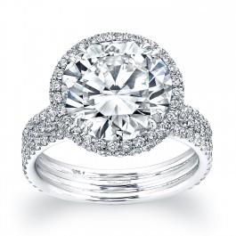 Three Band Round Halo Engagement Ring