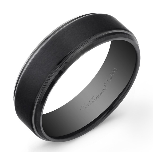 8mm black enamel plated Tungsten Carbide ring with matte finish