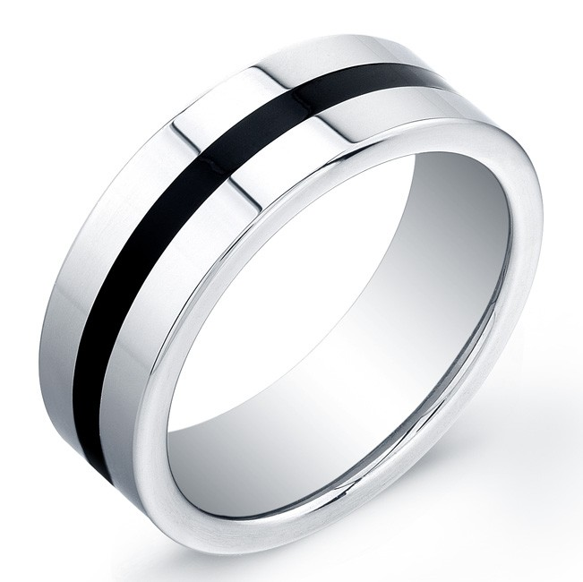 8mm Tungsten Carbide ring with a flat top and black enamel inlay