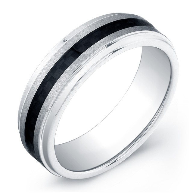 7mm Tungsten Carbide ring with carbon fiber inlay