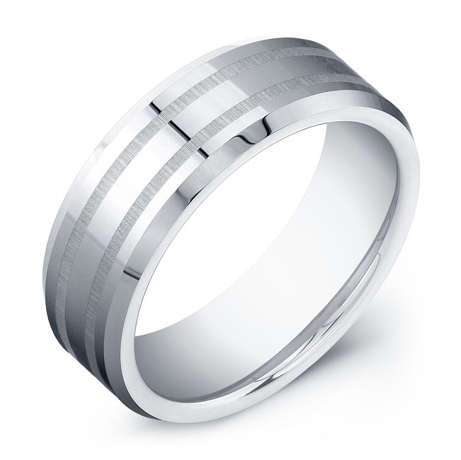 8mm Tungsten Carbide ring with double matte lines