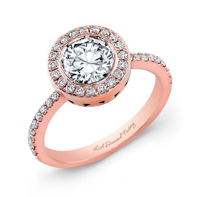 Bezel Set Round Halo Engagement Ring in Rose Gold