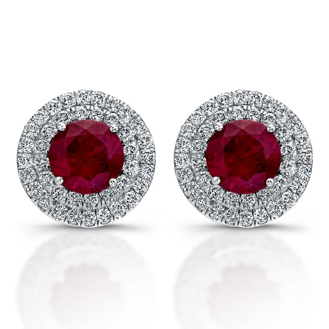 Double Halo Diamond Earrings With Ruby Centers (1ctw)