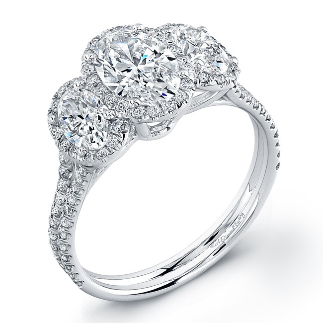 26fa625ff05f2f Three Stone Oval Halo Engagement Ring - Halo Collection - Engagement ...