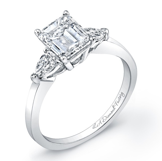 Three Stone Emerald With Pear Sides Engagement Ring