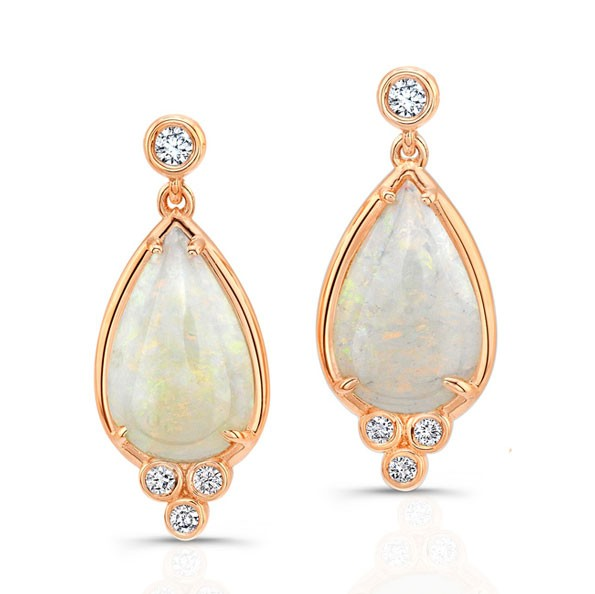Opal and Diamond Earrings in 14kt Rose gold