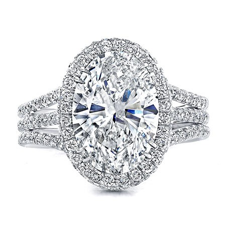 Three Band Oval Cut Halo Engagement Ring