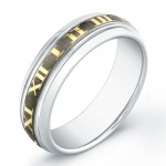 7mm Tungsten Carbide ring with gold-plated Roman numerals