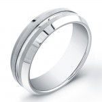 7mm Tungsten Carbide ring with matte top and polished groove