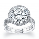 Three Band Round Halo Engagement Ring
