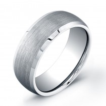 8mm Tungsten Carbide domed wedding band with a matte center and polished beveled edges