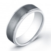 8mm Tungsten Carbide ring with a flat matte top and polished edges