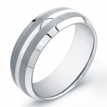 8mm Domed Tungsten Carbide band with polished center and matte accents