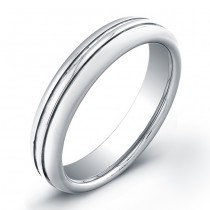 5mm Tungsten Carbide ring with double grooved top