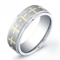 8mm Tungsten Carbide ring with a flat matte top and gold plated crosses