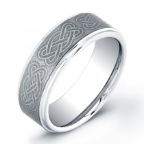 8mm Tungsten Carbide ring brushed center with knots