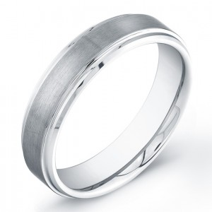 6mm Tungsten Carbide ring with a matte finish and polished edges