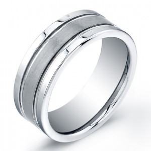 8mm Tungsten Carbide ring with matte center and high polished outer edges