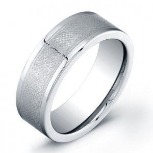 8mm Tungsten Carbide ring with a flat matte top and intricate engraved knot pattern