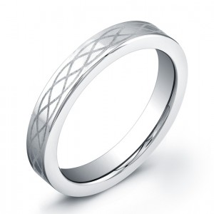 4mm polished top Tungsten Carbide ring with laser engraved pattern