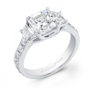 Three Stone Asscher Cut Engagement Ring