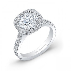 Scalloped Pave Cushion Cut Halo (Round Center)