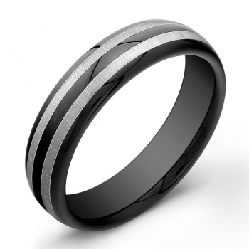 6mm Black Tungsten Carbide ring with 2 matte stripes