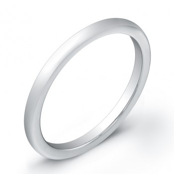 2mm Tungsten Carbide wedding band with a rounded top and bright polish