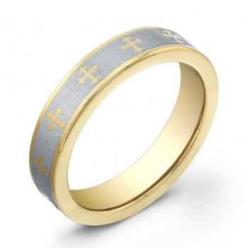 5mm Tungsten Carbide ring with gold plated edges and a gold plated cross design