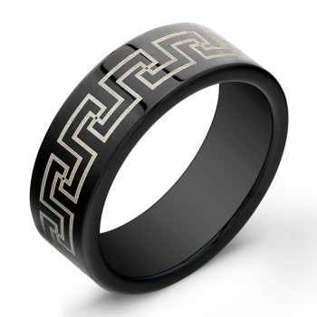 8mm Tungsten Carbide ring with laser engraved antique design