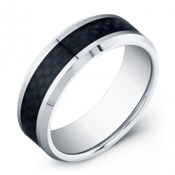 8mm Tungsten Carbide ring with black carbon fiber inlay