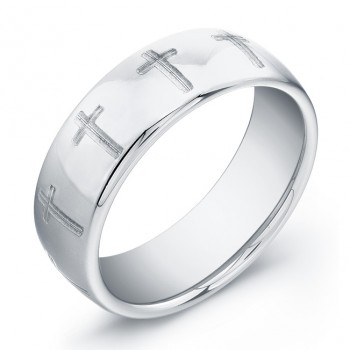 8mm domed Tungsten Carbide ring with cross pattern
